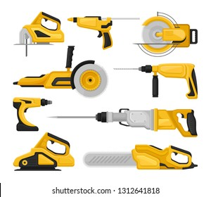 Flat vectoe set of different power tools. Electric saws, sanding machine, hammer drills, glue gun. Building equipment