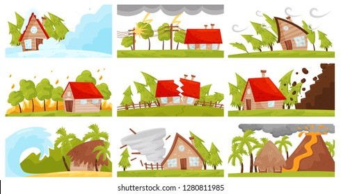 Flat vectoe set of natural disasters. Wildfire, volcanic eruption, avalanche, strong tornado, destructive earthquake