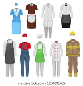 Flat vectoe set of staff clothing. Clothes of restaurant workers, maid, stewardess, firefighter. Male and female garment