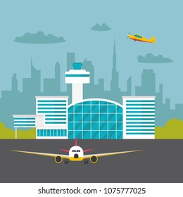 Flat vector airport terminal with aircraft on runway. Travel concept.
