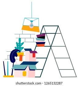 Flat vector apartment room renovation illustration. Repair and construction concept.Ladder, cardbox.