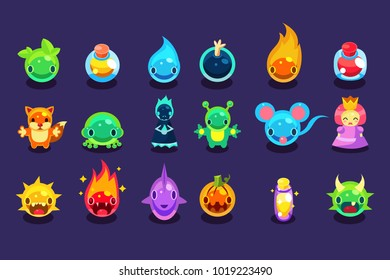 Flat vector assets for mobile game with funny creatures and objects. Aliens, fish, mouse, fox, toad, princess, bomb, potion, pumpkin, balls with eyes, mouths, horns, fire, water, spikes