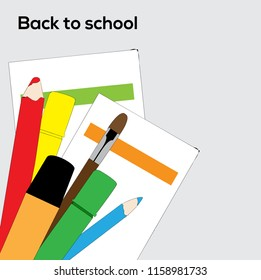 Flat vector backgraound with school supplies - pencils, brush, markers and paper