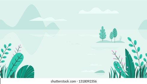 Flat vector background of spring landscape with minimal trees, lake, mountains, flowers, grass. Fantasy nature seamless border. Summer cartoon illustration.