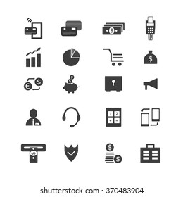Flat vector banking and finance icon set. Vector web design elements.