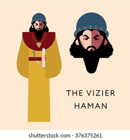 Flat vector bible character for Jewish Religion Holiday Purim, Haman puppet with costume, traditional symbol, The scroll of Esther