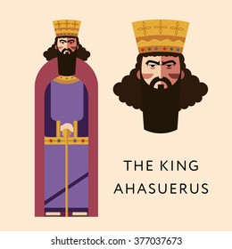 Flat vector bible character for Jewish Religion Holiday Purim, Persian King Ahasuerus puppet with costume, traditional symbol, The scroll of Esther
