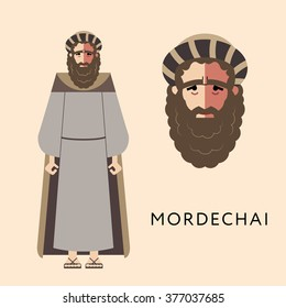 Flat vector bible character for Jewish Religion Holiday Purim, Mordechai puppet with costume, traditional symbol, The scroll of Esther