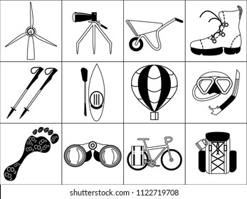 Flat vector black and white iconset for ecotourism sites. Main ecotourism types and notions emblems.