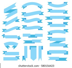 Flat Vector blue ribbon. Isolated on white background. Banners, dies for design. Vector illustration