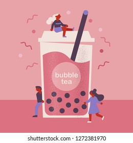 Flat vector bubble tea concept with cute people characters.