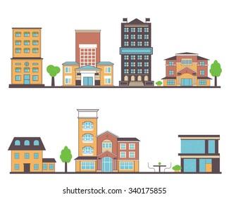 Flat vector buildings set