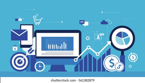 flat vector for business  digital  marketing online concept and internet marketing on mobile online concept .analytic and  planning concept