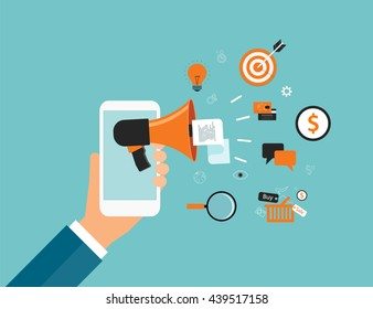 flat vector business online marketing content  advertising concept