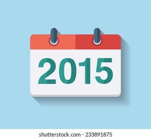 Flat vector calendar icon 2015. New year 2015