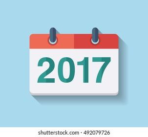 Flat vector calendar icon 2017. New year 2017