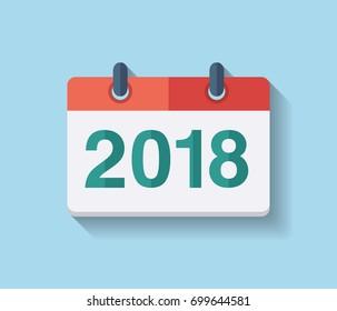 Flat vector calendar icon 2018. New year 2018