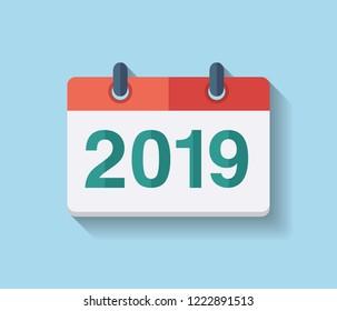 Flat vector calendar icon 2019. New year 2019