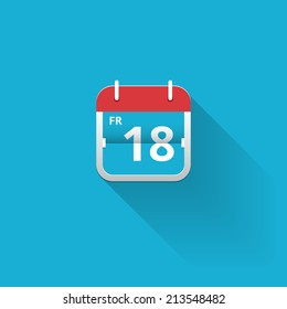 Flat vector calendar icon with a red hanger showing the date of friday 18th on a blue background with copyspace