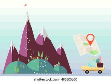 Flat vector car escape to mountain top using map. Eco tourism, road navigation concept