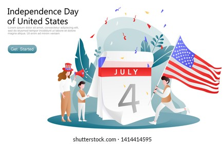 flat vector cartoon illustration celebrate independence day usa. Men run bring and raising flags, women give spirit. Concept 4th of july calendar, set of plants. for landing page, website, ui, ux, app