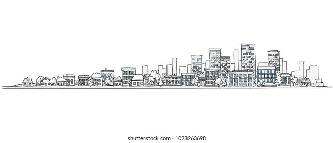 Flat vector cartoon illustration of hand drawing urban landscape with skyline, city office buildings and family houses in small town village in background. Isolated and layered doodle line sketch.