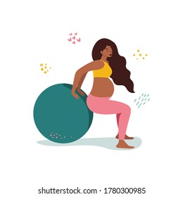 Flat vector cartoon illustration of a pregnant woman performing fit ball exercises isolated on a white background. The concept of a healthy lifestyle and sports during pregnancy