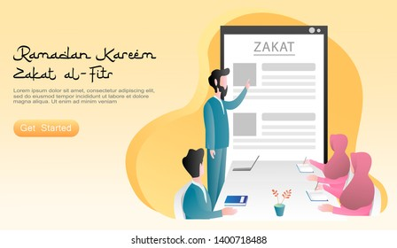 flat vector cartoon illustration ramadan. Family togetherness, father teaches family about zakat and charity. Concept of smartphone, table, chairs discussion, laptop, book. for landing page, web, ui