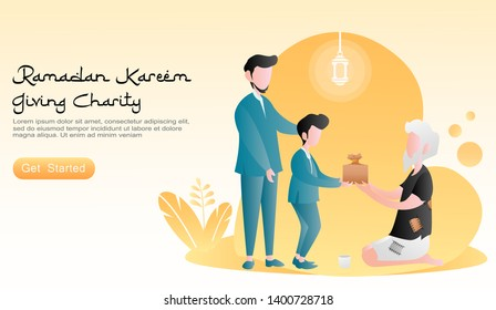 flat vector cartoon illustration ramadan kareem. Fathers and sons give gifts to people in need/ to the poor. concept of plants, lanterns, orange background. fol landing page, banner, website, homepage