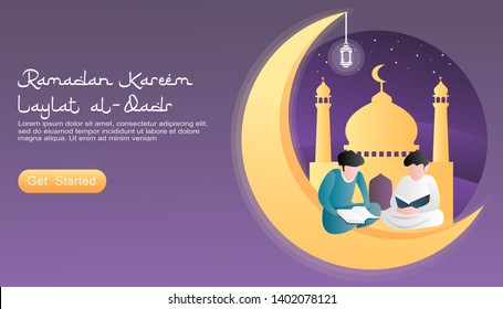 flat vector cartoon illustration ramadan kareem. 2 boys reading the Koran at that time looking for Laylatul Qadr at night. moon concept, mosque, lantern, sky full of stars. for landing page, website