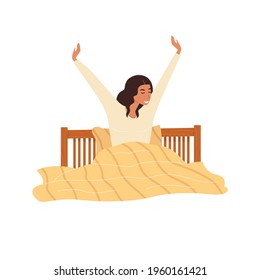 Flat vector cartoon illustration of a smiling woman who stretches after sleeping in a cozy bed. The concept of a good morning and a good start to the day. Isolated design on a white background.