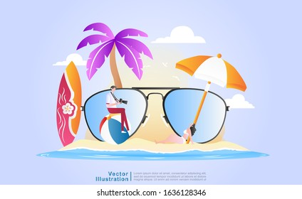 flat vector cartoon illustration summer vacation photography. a male photographer doing a photo shoot of a beautiful female model on the beach in a relaxed and elegant style. for web, UI/UX, flyer.