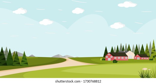 Flat vector cartoon style illustration country landscape. House in grassland and mountain with green trees in background.