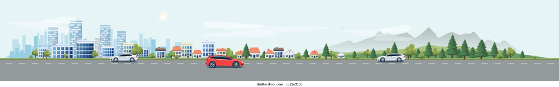 Flat vector cartoon style illustration urban landscape street with cars, skyline city office buildings, family houses in small town and mountain with green trees in background. Traffic on the road.