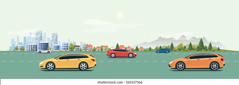 Flat vector cartoon style illustration of urban landscape street with cars, skyline city office buildings, family houses in small town and mountain with green trees in background. Cars on the road.