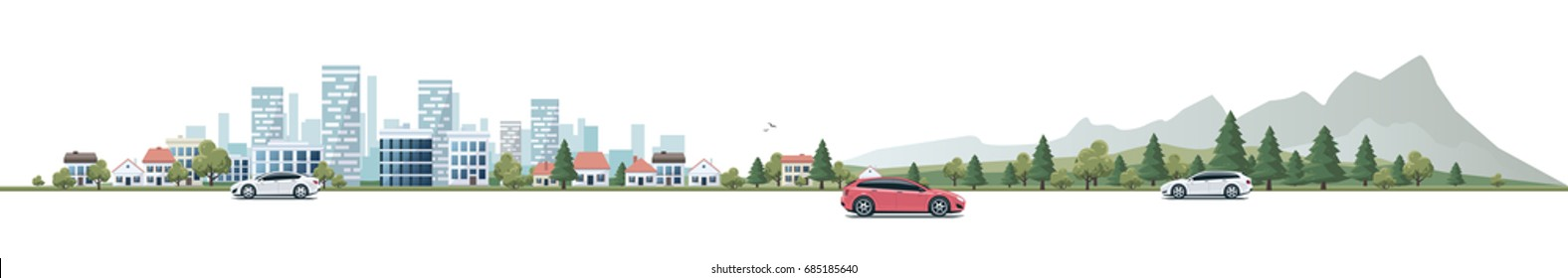 Flat vector cartoon style illustration of urban landscape street with cars, skyline city office buildings, family houses in small town and mountain with trees in background. Wide horizontal panorama.