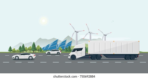 Flat vector cartoon style illustration of landscape street with electric cars, futuristic semi truck, solar panels, wind turbines and mountain countryside in background. Sustainable transportation.