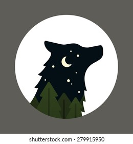 Flat vector cartoon style wolf head silhouette inside a circle. Night forest landscape with moon and stars.