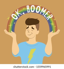 Flat vector cartoon of young man with stylish hair, smug face, and thunder T-shirt shrugs. Sparkle rainbow with OK, Boomer text arch from his hands. Inspired by popular memes.