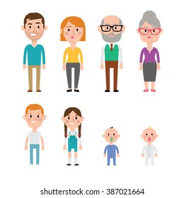 Flat vector caucasian family members. Parents, grandparents, children and baby.