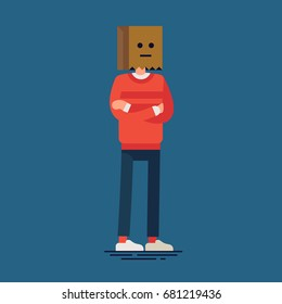 Flat vector character design on random anonymous guy standing arms crossing wearing paper bag hat on his head