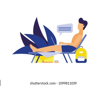Flat vector character of a man lying on a lounger with laptop. Freelancer working while relaxing on a beach.