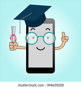 Flat vector character smartphone with square academic cap, concept for mobile learning