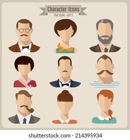 Flat vector characters
