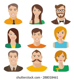Flat vector characters. Vector avatars with eyes. Smiling happy people. Happy emotions. Vector portraits.
