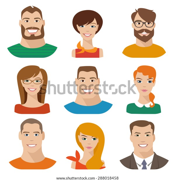 Flat Vector Characters Vector Avatars Eyes Stock Vector (Royalty