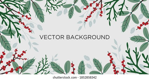 Flat vector Christmas background with branches of conifers and red ilex berries good for winter holidays banners