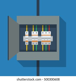 Flat vector, Circuit Breakers on switchboard, simple electric illustration