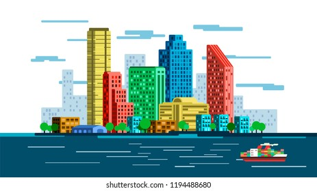 Flat vector city skyline illustration. Colorful waterfront with skyscrapers, smaller buildings and cargo ship