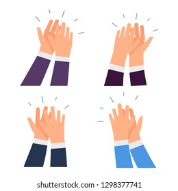 Flat vector clapping hands icons isolated on white background